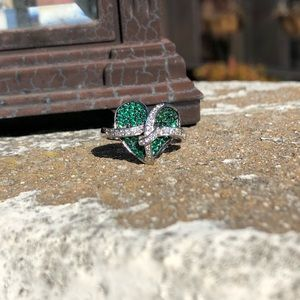Jewelry - Emerald Natural White Topaz Sterling Silver Ring 9